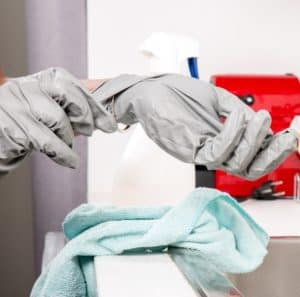 preparing to sanitize