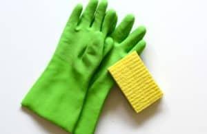 gloves and sponge