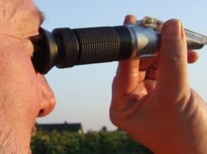 guy using the Refractometer