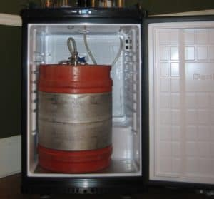 Keg inside the fridge