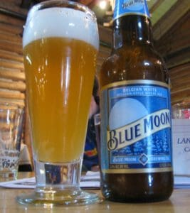 Blue Moon beer bottle and glass
