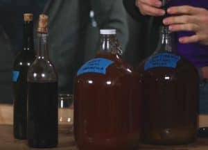 bottles with fermented beer