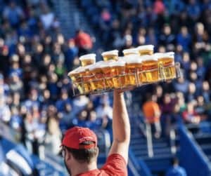 sellign beer at a football game