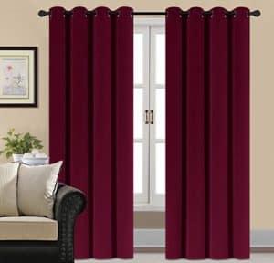 Burgundy Velvet Blackout Curtains