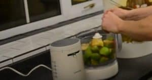 making cider by putting apples in the food processor