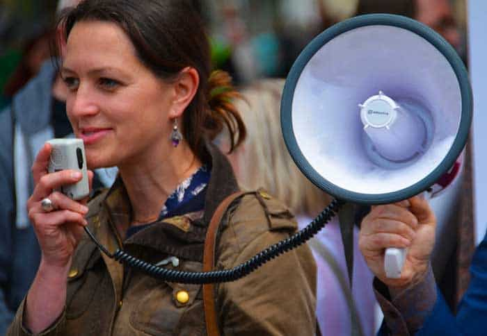 megaphone held by a girl