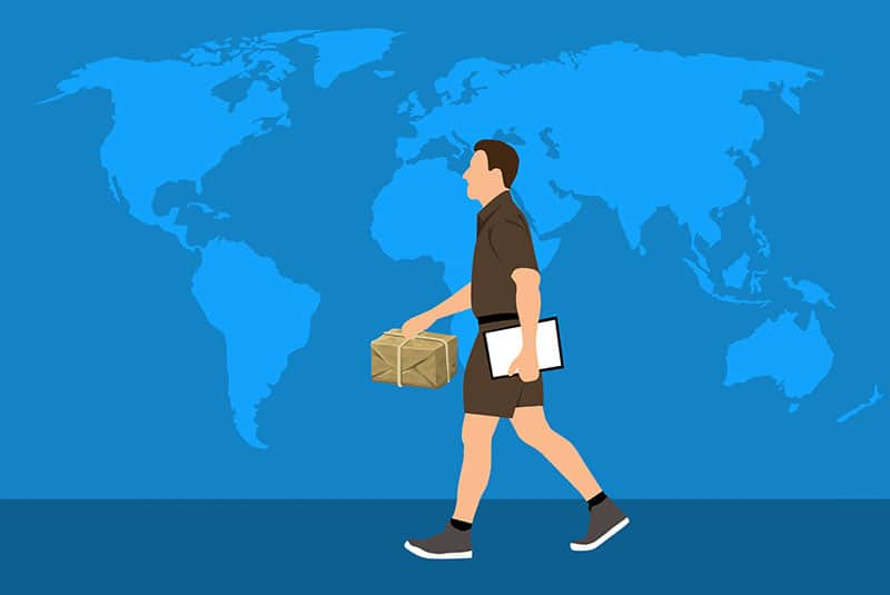 man delivering in map